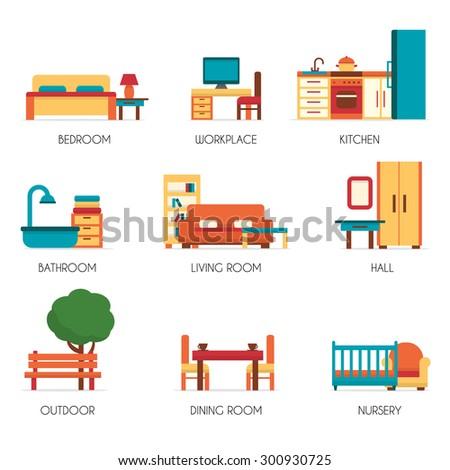 furniture icons set flat style