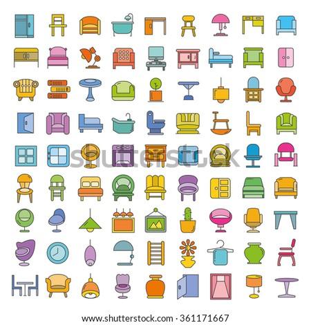 furniture icons set  home decor