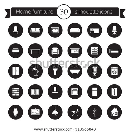 furniture icons set home