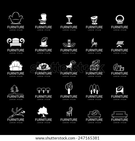 Furniture Icons Set Isolated On Black Background Vector Illustration Graphic Design Editable For Your Design
