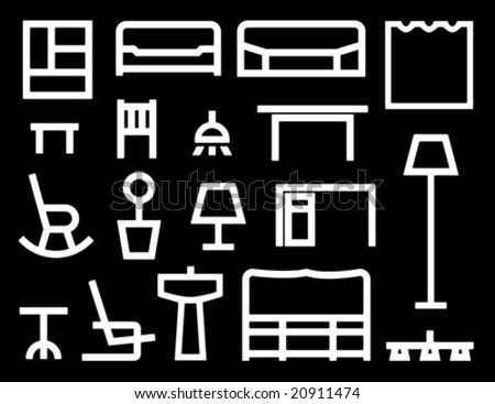 Furniture icons. Simple line icons.