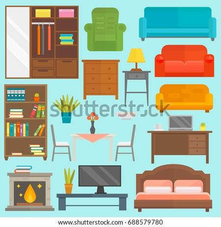 Furniture icons vector isolated illustration outline modern closet bedroom silhouette
