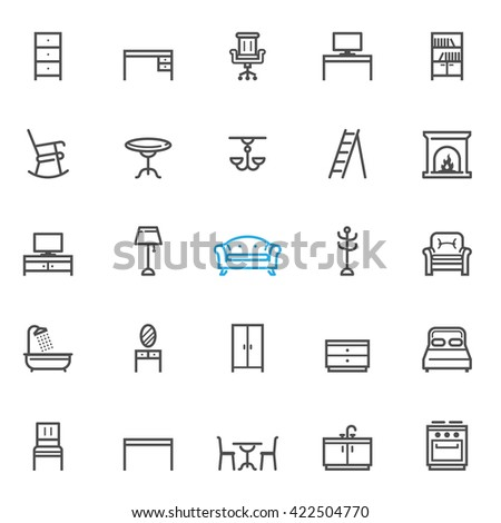 furniture icons with white
