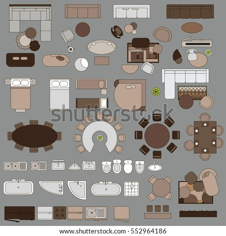 furniture in top view