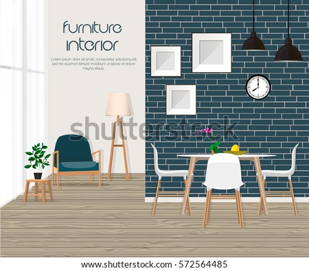 Vector Illustration Furniture Interior Living Room With Sofa Table Lamp Pictures Window