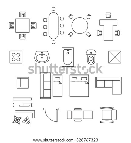 Stock Vector Furniture Linear Vector Symbols Floor Plan Icons Set  Interior And Toilet Washbasin And Bath. Floor Plan Toilet Symbol Vector  Floor  Home Plan And House Design