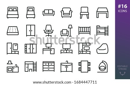 Furniture outline icons set. Set of home furniture, loft table, double bed, bedding mattress, bean bag chair, tv stand, hallway furniture, wardrobe closet,  rattan swing chair isolated vector icon