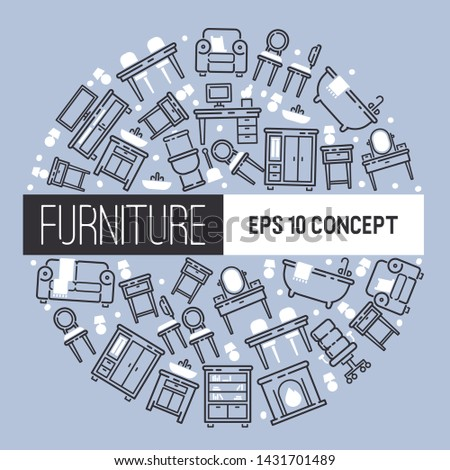 Furniture pattern vector furnishings design of living-room backdrop furnished interior in apartment sofa table arm-chair to furnish room illustration background.