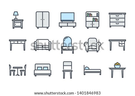 Furniture related color line icon set. Сushioned furniture colorful linear icons. Home furniture flat color outline vector signs and symbols collection.