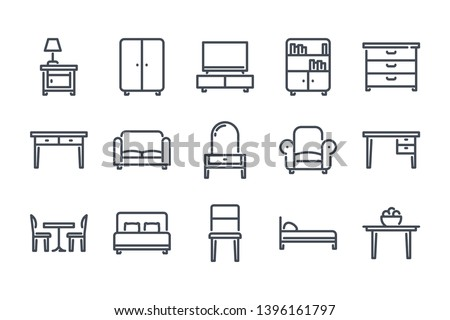 Furniture related line icon set. Сushioned furniture linear icons. Home furniture outline vector signs and symbols collection.
