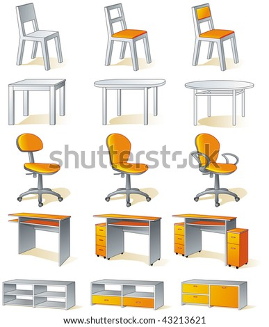 Furniture set - home items - chairs, tables, office chairs, desks, cupboards