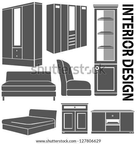 Furniture Set Interior Design Stock Vector Illustration