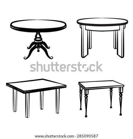 Furniture set. Interior detail outline collection: tables in different retro style Stock photo ©