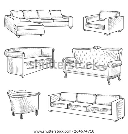 Furniture set interior detail outline sketch collection for Table design sketch