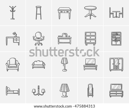 Furniture Sketch Icon Set For Web, Mobile And Infographics. Hand Drawn  Furniture Icon Set