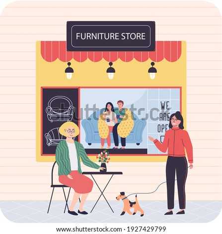 Furniture store, female buyer consults with seller regarding purchase of couch during sale. People in furniture store looking for new comfortable sofa for home. Shop assistant helps lady choose design Photo stock ©
