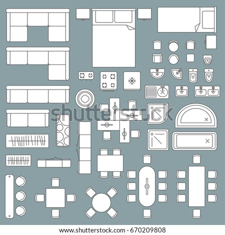 Furniture top view architecture plan. Home and office graphic design, apartment technical drawing. Vector flat style illustration isolated on grey background
