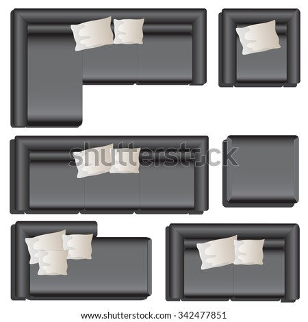 furniture top view set 33 for