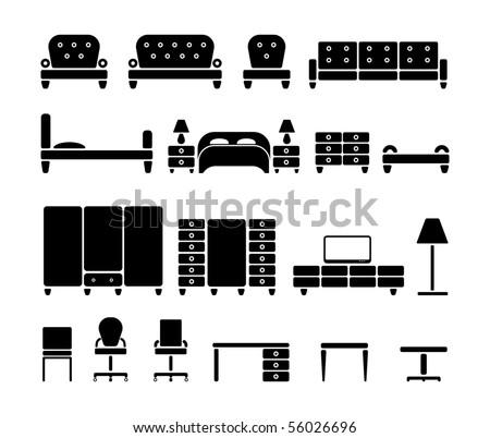 Furniture. Vector icon set
