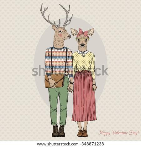 furry art illustration of deers