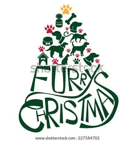 furry christmas tree greeting