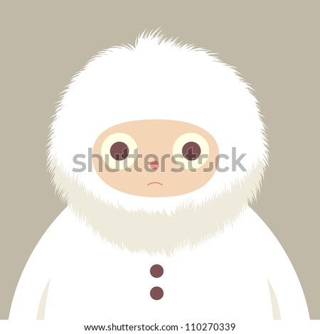 furry hood eskimo character illustration