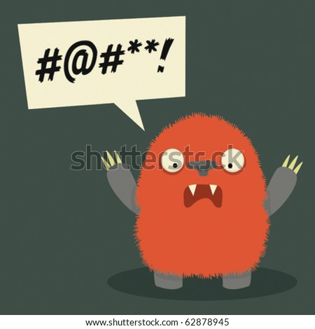 Furry red monster fuming