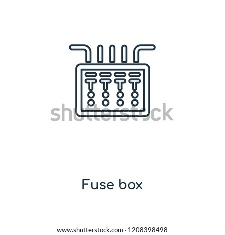 Fuse box concept line icon. Linear Fuse box concept outline symbol design. This simple element illustration can be used for web and mobile UI/UX.
