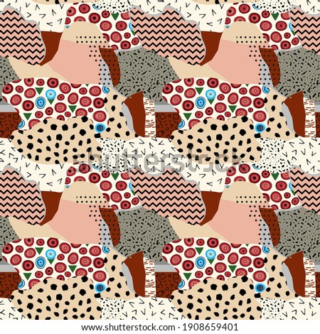 Fussy seamless pattern of round shapes with texture. The background is unusual modern hand drawn