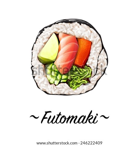 Futomaki sushi roll containing salmon meat, sweat pepper rice, caviar, avocado, cucumber on a white background. Japanese cuisine, traditional food icon. Pixel perfect isolated vector illustration
