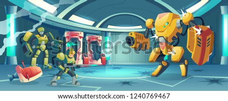 Future army forces repel enemy attack on starship, space pirates storming secret science laboratory cartoon vector with soldier in exoskeleton armor and battle droid firing in enemy robot illustration