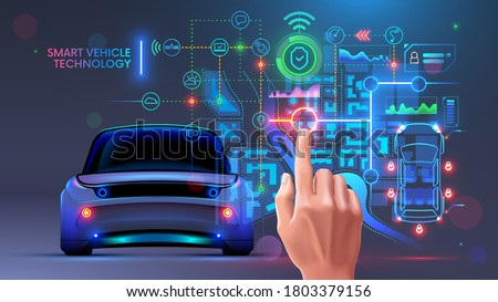 Future automotive smart vehicles intelligent system concept. Computer virtual diagnostic interface of autonomous car. Data about security, technical state, gps, battery charge on hud dashboard. IOT.