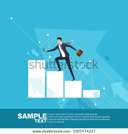 Future Business Leader Concept Finance Manager Business Man Stand on rocket.Flat Isometric People Executive Manager Vector Investor trader Business future vision Individual success