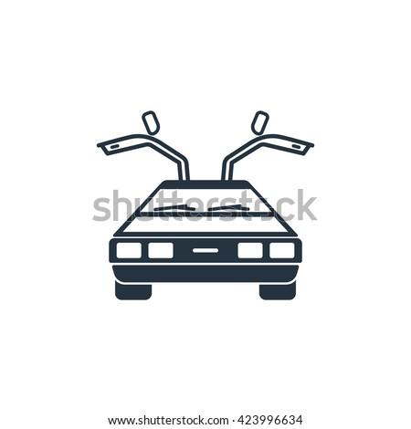 future car, delorean front icon on white background, vector