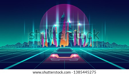 Future city digital simulation in virtual reality cartoon vector futuristic background. Racing car going on glossy surface with neon grid to metropolis illuminated skyscrapers buildings illustration