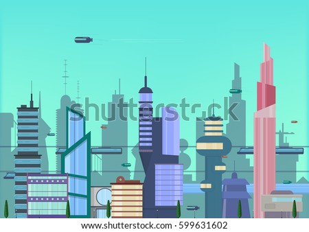 future city flat illustration