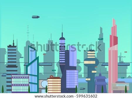 future city flat illustration