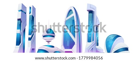 Future city, futuristic buildings with glass facade and unusual shapes isolated on white background. Modern style architecture towers and skyscrapers. Alien urban cityscape design, Cartoon vector set