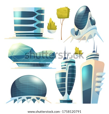 Future city, futuristic glass buildings of unusual shapes and green plants isolated on white background. Modern architecture towers and skyscrapers. Alien urban dwellings design, Cartoon vector set
