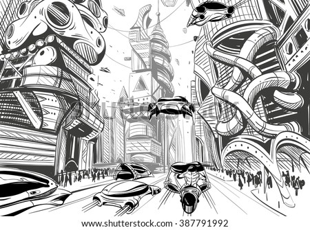 future city hand drawn sketch