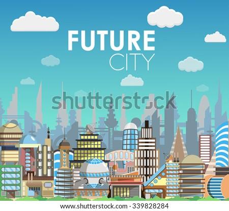 future city landscape cartoon