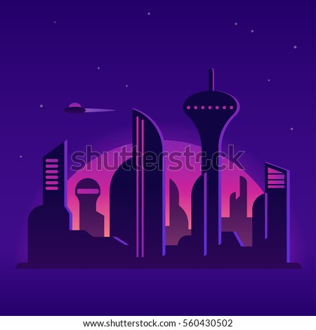 future city night landscape