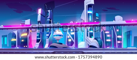 future city  night town with