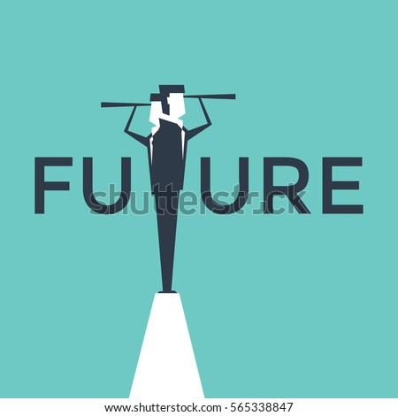 Future concept vector illustration with business man looking through telescope from a cliff.