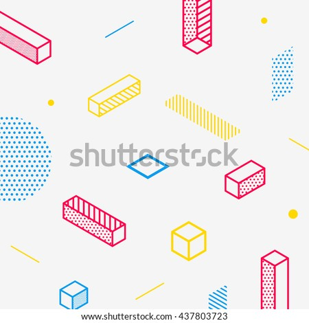 Future geometric pattern. Simple isometric shapes composition. Hipster colors. Original trendy design. Eps10 vector template.