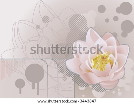 Future grunge lotus background.  A funky background featuring a beautiful lily or lotus. No meshes used.