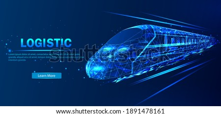 Future logistics, transport concept.  Abstract vector in futuristic polygonal style with wireframe, lowpoly triangles on a blue background with stars. Logistics concept high-speed train.