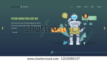 Future marketing chat bot. Innovation intelligence technology science future, robot marketer, financial business consultation, technology of future. Website template design, app. Vector illustration.