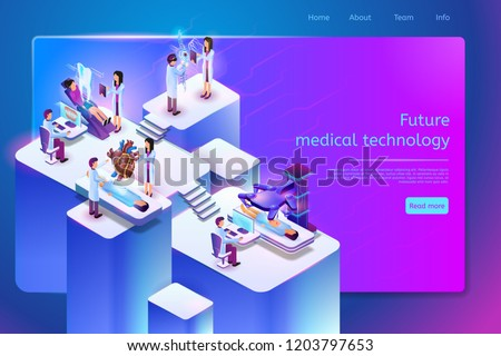 Future Medical Technology Isometric Web Banner with Medical Personnel Using Robotic, Augmented and Virtual Reality Technologies for Diseases Diagnosis and Treatment. Future Clinic Web Page Template