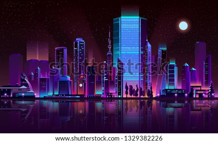 Future metropolis night landscape cartoon vector in fluorescent colors. Illuminated with neon glowing lights skyscrapers on seashore with city buildings reflections in bay calm water illustration